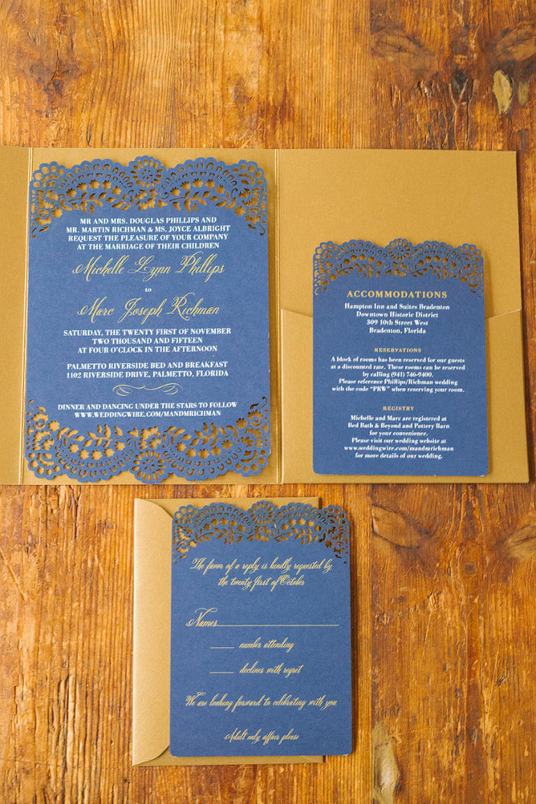 Navy and Gold Palmetto Wedding Stationary and Invitation Set