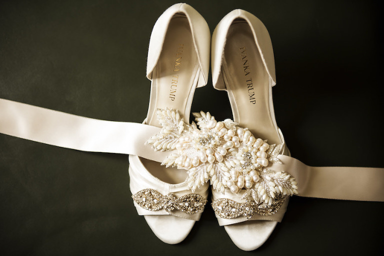 White, Ivanka Trump Bridal Wedding Shoes with Crystal, Rhinestone Accents and Pearl Wedding Sash