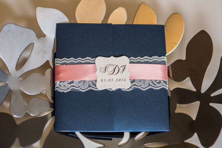 Navy Blue and Blush Wedding Pocket Fold Invitation with Ribbon and Lace Accent | Tampa Wedding Stationery Shop Invitation Galleria