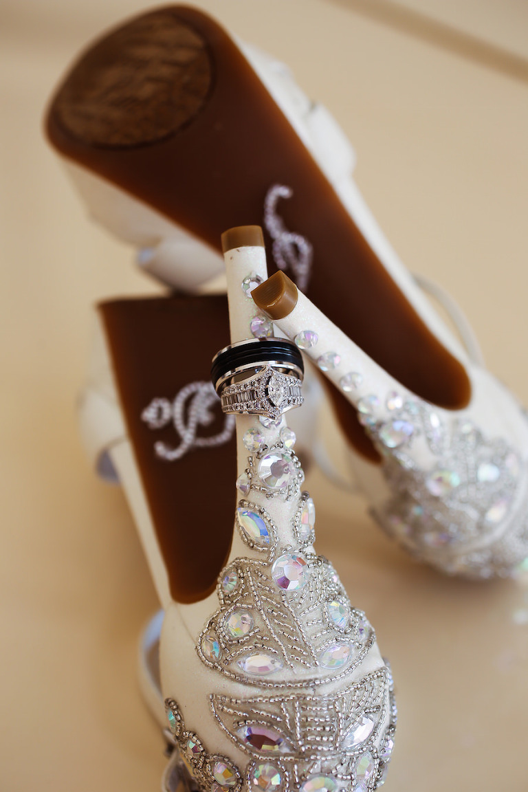 Bridal Champagne Wedding Shoes with Rhinestone and Beading Detail and Wedding Engagement Ring Portrait