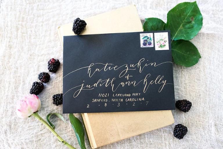 Handwritten Gold Calligraphy on Black Envelope   Modern Wedding Invitation and Stationery