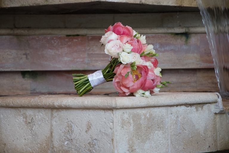Pink, Coral and Ivory Peony and Rose Wedding Bouquet | St Petersburg Fl Wedding Florist Iza's Flowers