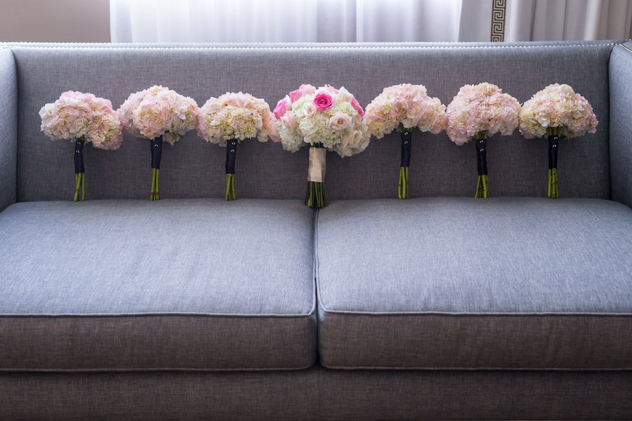 Pink and White Bride and Bridesmaids Bridal Wedding Bouquets | St. Pete Wedding Florist Iza's Flowers