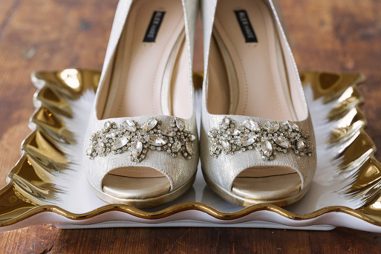 Silver Wedding Shoes with Crystal, Rhinestone Accent Detail