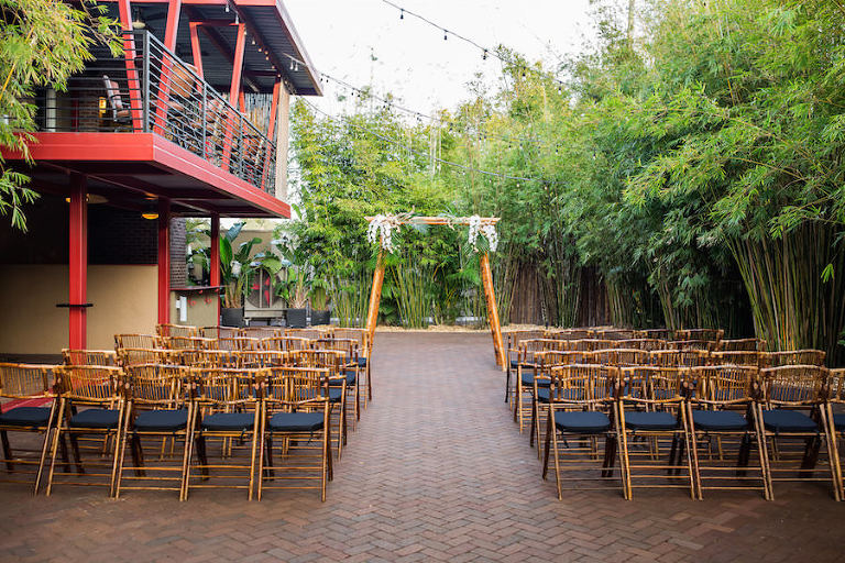 Bamboo Chairs and Arbor/Arch/Chuppah at Downtown St. Pete Wedding Venue NOVA 535 | St. Petersburg Rentals Coast to Coast Event Rentals | Tampa Wedding Week Venue Crawl | Wedding Photographer Rad Red Creative