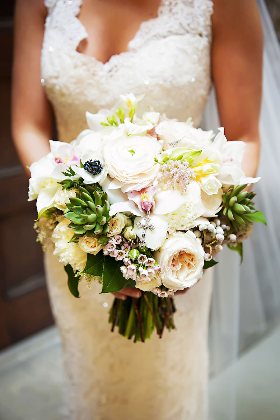 Pastel White and Pink Bridal Wedding Bouquet with Peonies and Succulents