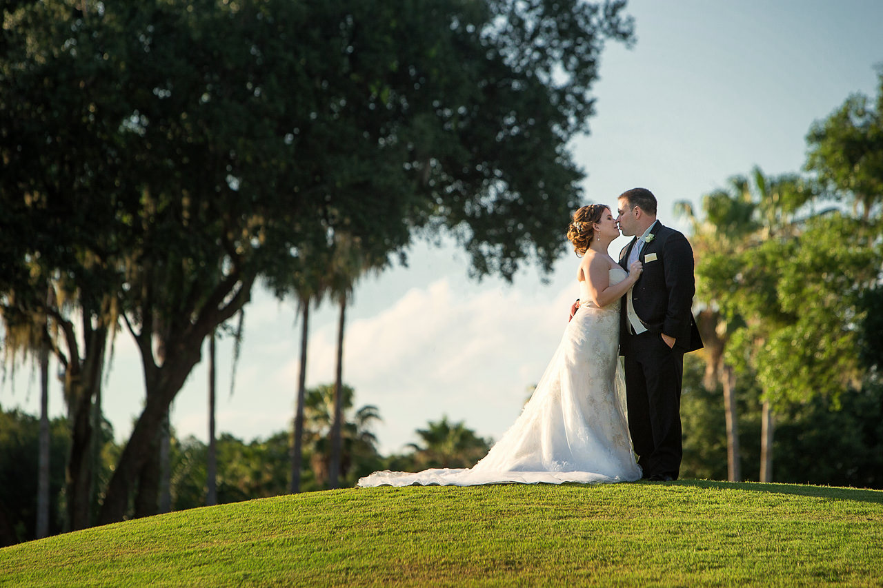 Outdoor, Bride and Groom Wedding Portrait on Golf Course | Tampa Wedding Venue Tampa Palms Golf and Country Club | Tampa Wedding Photographer Jeff Mason Photography