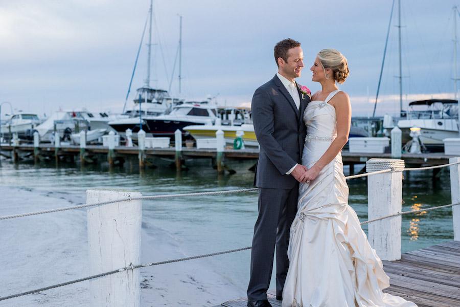 Outdoor, Bride and Groom Outdoor Waterfront Wedding Portrait | St. Pete Wedding Photographer Jeff Mason Photography