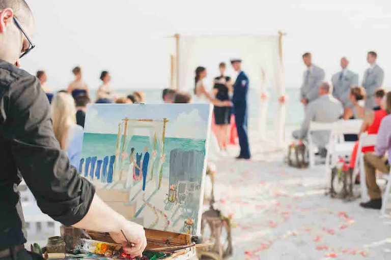 Outdoor Beach Wedding Ceremony with Artist Painting Portrait of Wedding Ceremony| Tampa Wedding Planning by UNIQUE Weddings and Events