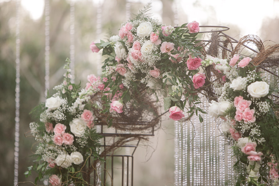 Rustic Glam Floral Wedding Archway with White and Light Pink Roses, Baby's Breath, Greenery and Cascading Crystals   Rose Petal Aisle   Wedding Ceremony Ideas   Tampa Bay Wedding Floral Designer Northside Florist