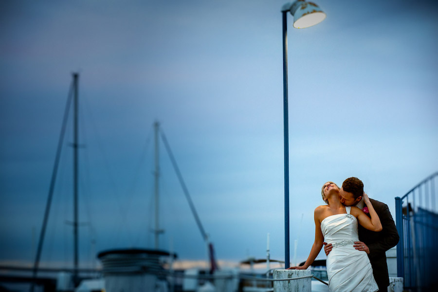 Outdoor Nautical Waterfront , Nighttime Twilight Bride and Groom Wedding Portrait | St. Pete Wedding Photographer Jeff Mason Photography | St. Petersburg Wedding Venue Isla Del Sol Yacht and Country Club