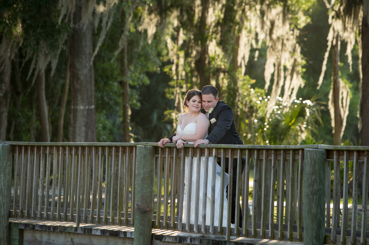 Outdoor, Bride and Groom Wedding Portrait on Boardwalk| Tampa Wedding Venue Tampa Palms Golf and Country Club | Tampa Wedding Photographer Jeff Mason Photography