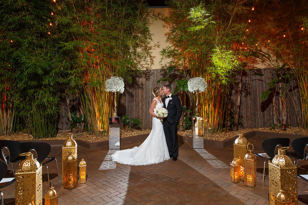 Outdoor Nighttime Wedding Portrait of Bride and Groom at Downtown St. Pete Wedding Venue NOVA 535
