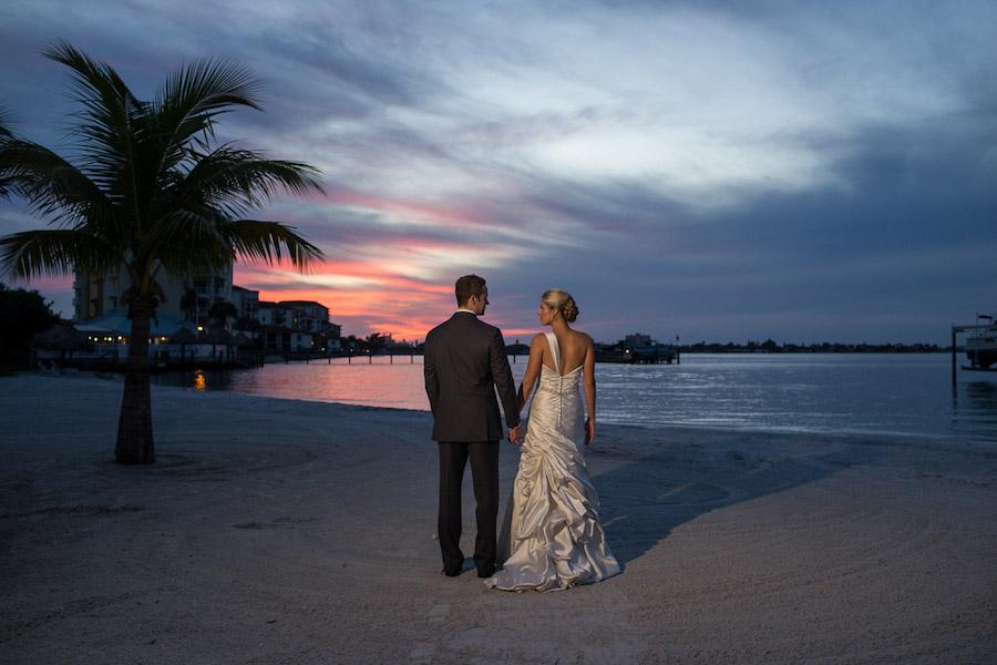 Outdoor Beachfront, Twilight Sunset Bride and Groom Wedding Portrait | St. Pete Wedding Photographer Jeff Mason Photography | St. Petersburg Wedding Venue Isla Del Sol Yacht and Country Club