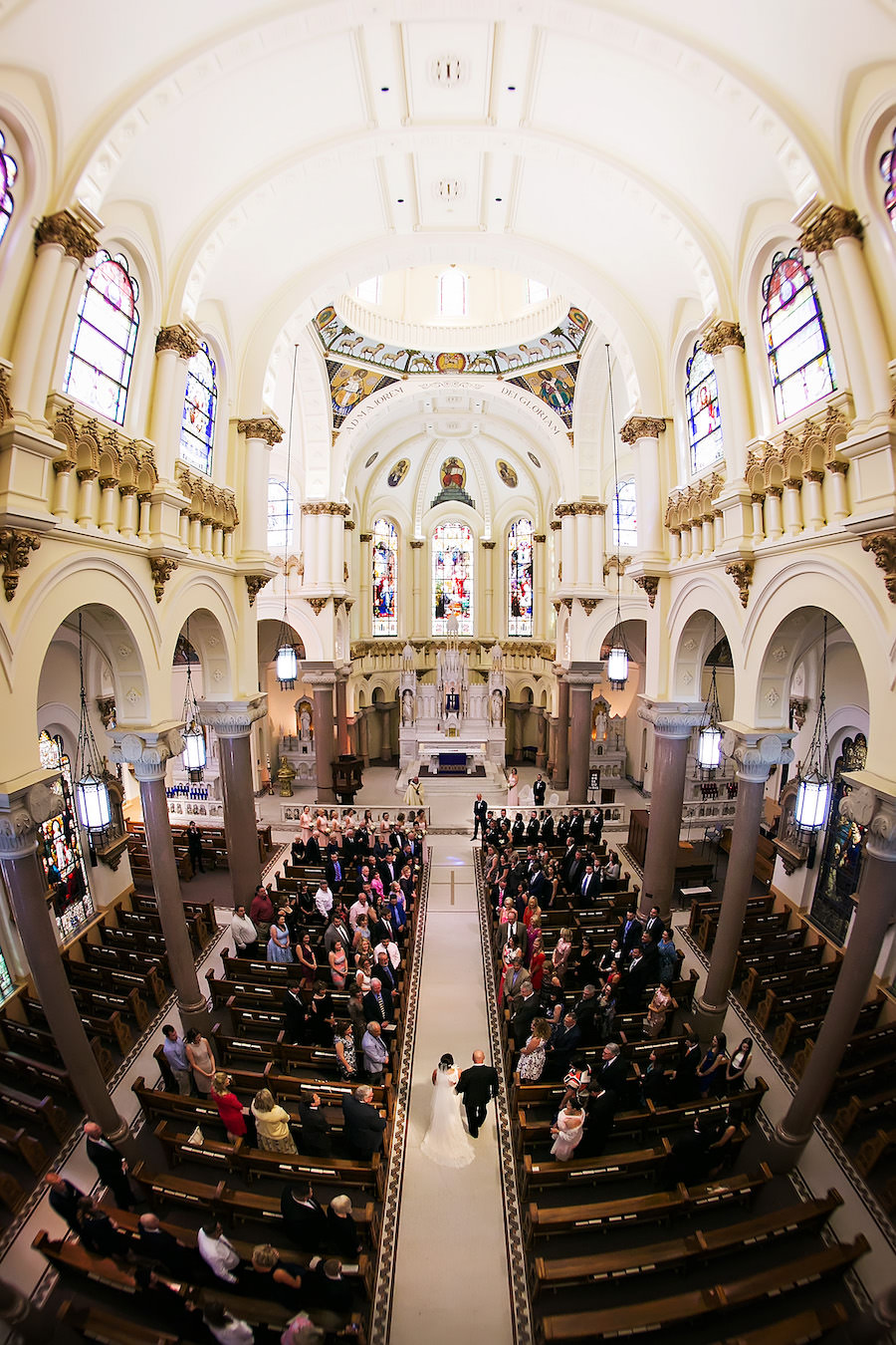 Tampa Wedding Ceremony Venue Sacred Heart Catholic Church, Bride and Dad Walking Down Aisle