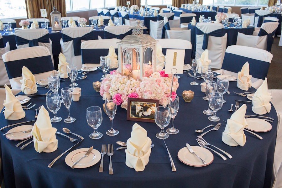 Navy Blue Reception Table Decor with Pink and Ivory Floral Centerpieces with Silver Lantern and Blue Table Linens | St. Pete Wedding Florist Iza's Flowers