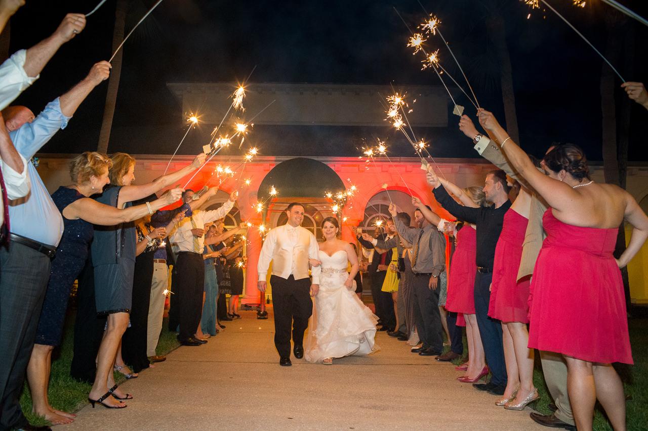Outdoor, Tampa Bride and Groom Sparkler Exit