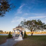 Outdoor, Waterfront Bride and Groom Wedding Portrait with Gazebo   Tampa Wedding Venue Davis Island Garden Club