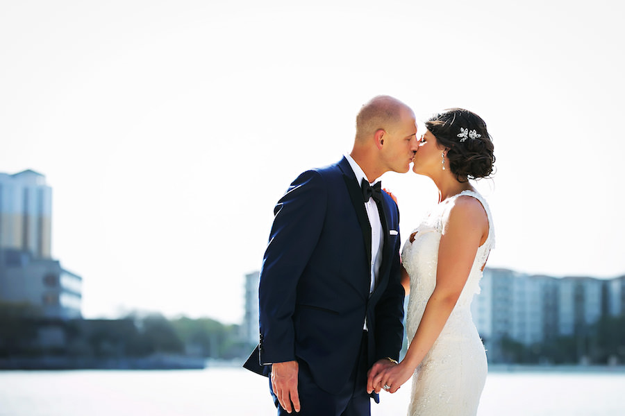 Outdoor, Downtown Tampa Bride and Groom Kissing Wedding Portrait | | Tampa Wedding Photographer Limelight Photography