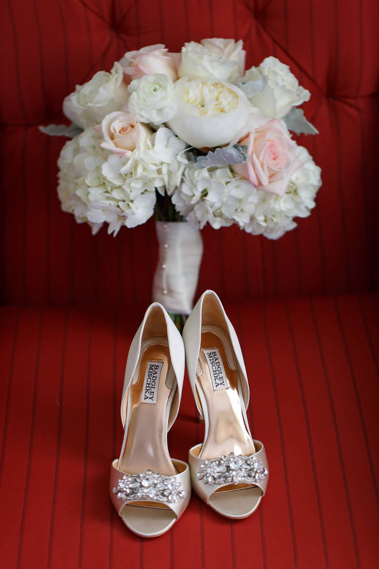 Bridal Champagne Open Toed Badgley Mischka Wedding Shoes with Rhinestone Brooch and Ivory and Blush Pink Hydrangea and Rose Bridal Wedding Bouquet