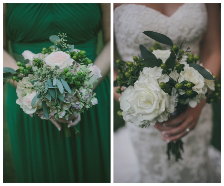 Sarasota Wedding with Lace, Strapless Ivory Wedding Dress and Green Bridesmaids Dress with White Wedding Bridal Bouquets with Greenery