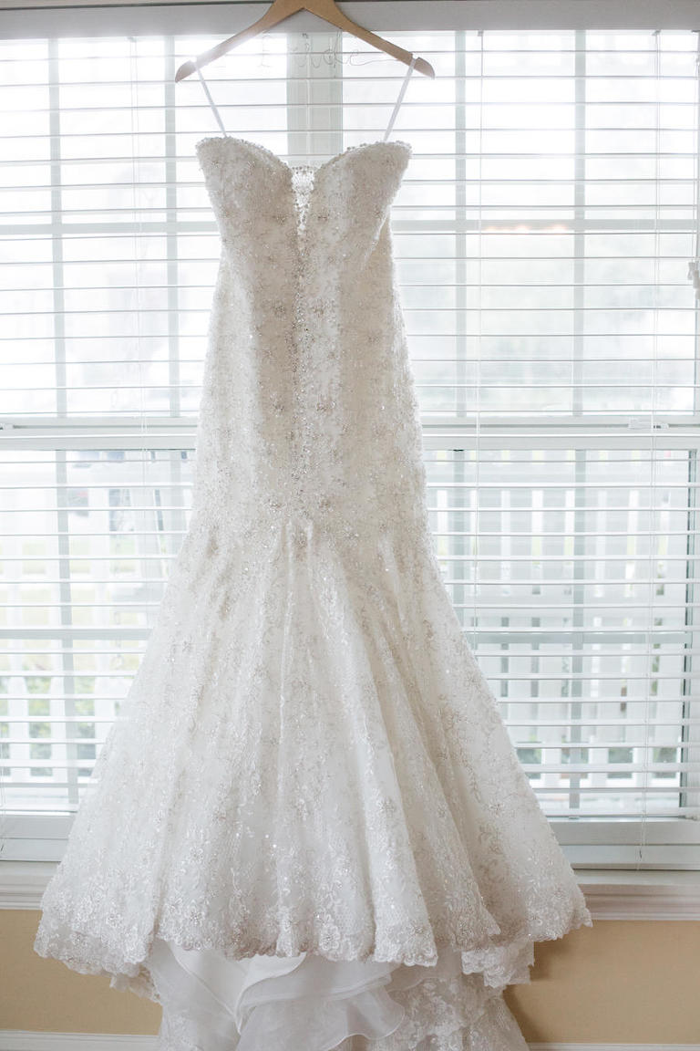 Ivory Allure Couture Lace Trumpet Wedding Dress with Pearl Accents