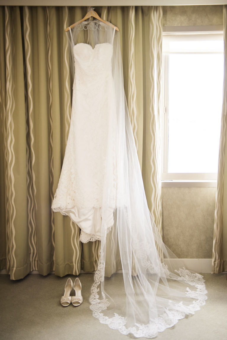 White, Strapless Lace Wedding Gown, Lace Trim Veil, and White Wedding Shoes for Tampa Wedding