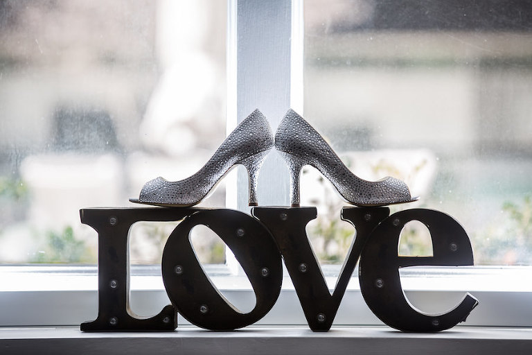 Silver, Rhinestone Bridal Wedding Shoes Heels on Love Sign