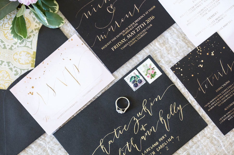 Handwritten Gold Calligraphy on Black Envelope | Modern Wedding ...