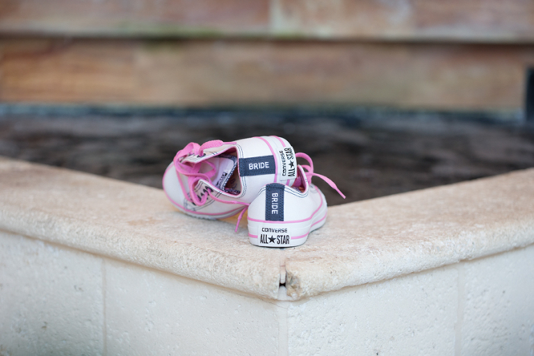 White and Pink Converse All Star Bride Wedding Tennis Shoes