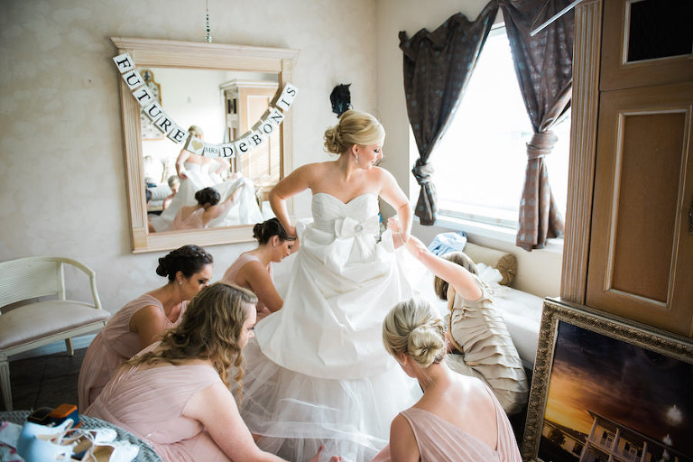 Putting On David's Bridal - Galina Dress Getting Ready Wedding Portrait | Tampa Bay Wedding Photographer Kera Photography