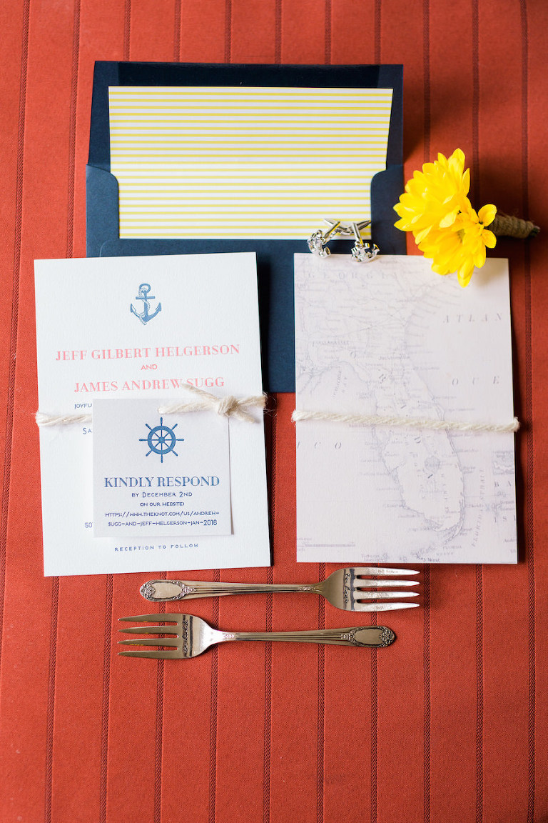Nautical Inspired Navy, Coral and Yellow Wedding Invitation Suite | St. Petersburg Stationery Shop A&P Designs