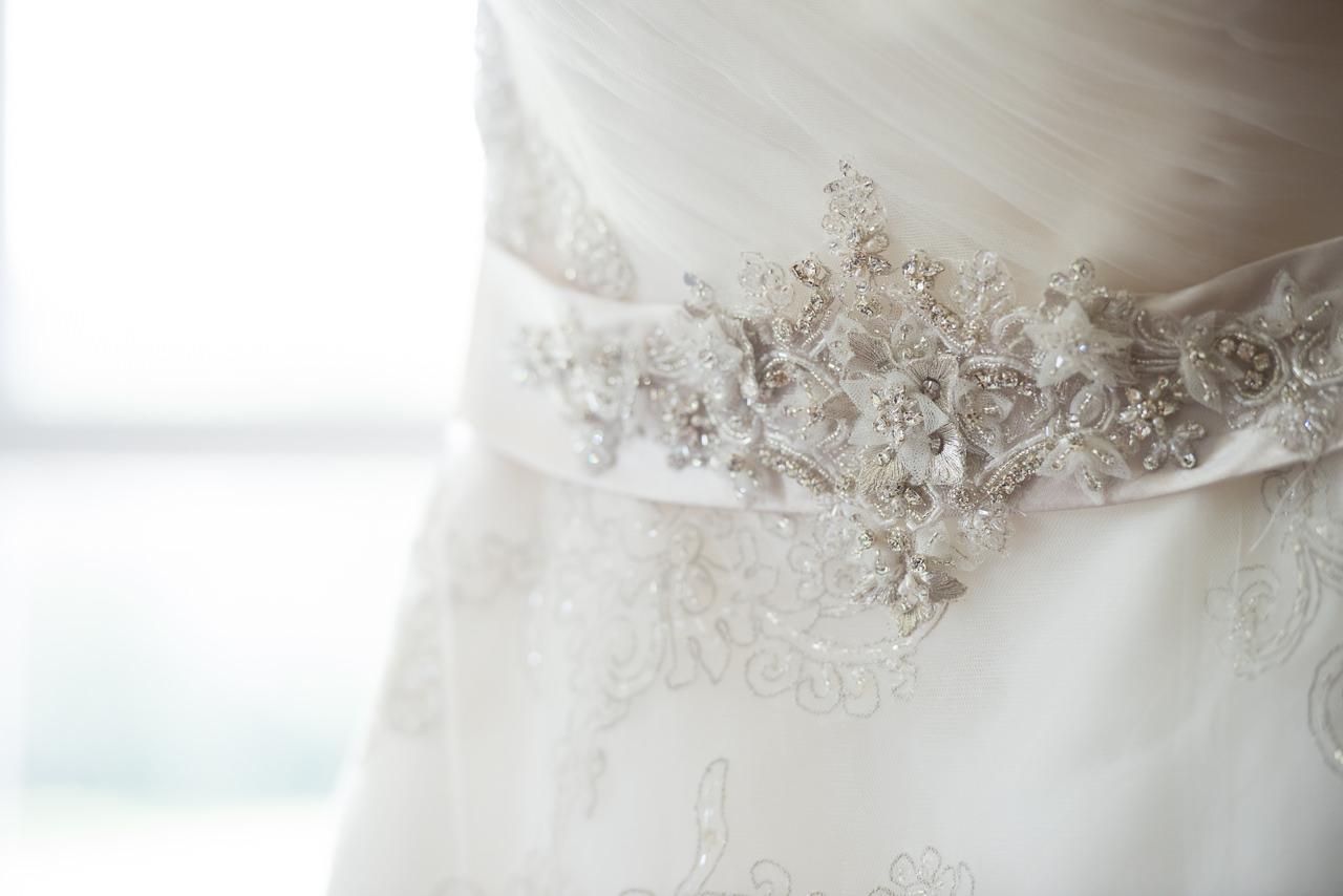 Ivory, Organza Bridal Wedding Dress with Crystal, Rhinestone Sash