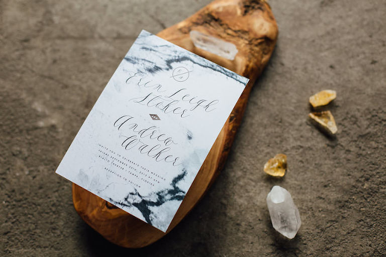 Tampa, Bohemian and Nature Inspired Wedding with Crystal, Quartz Gemstones and Black and White Wedding Invitation Stationary | Tampa Wedding Invitations Citrus Press Co.