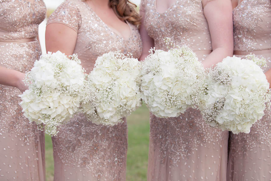 9905cde6a63 Blush Pink Sequined Adrianna Papell Bridesmaids Dresses with Ivory Wedding  Bouquet of Flowers with Hydrangeas and Baby s Breath