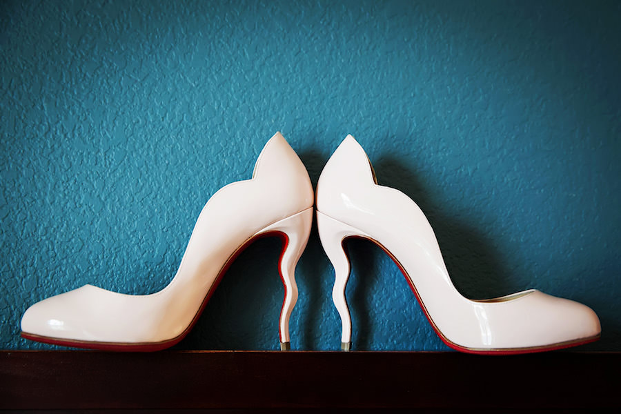 White, High Heel Bridal Wedding Shoes with Red Soles