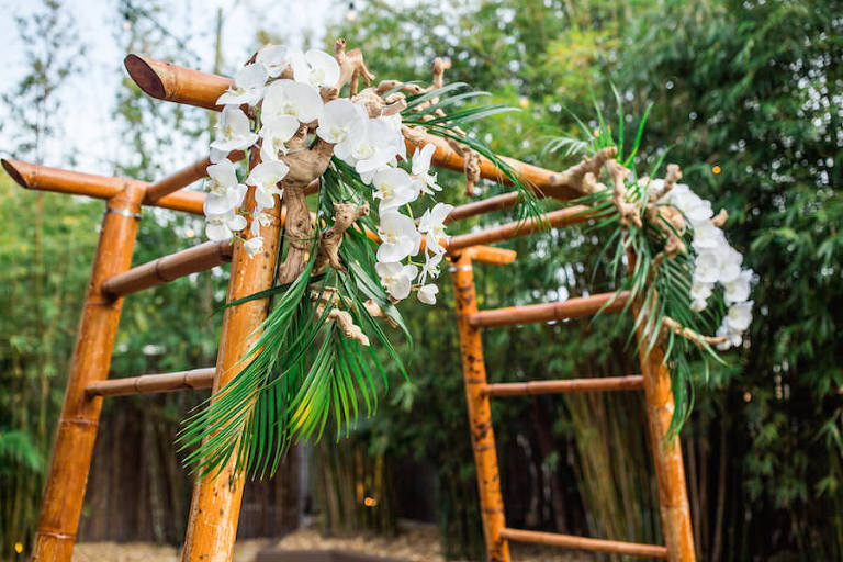 Bamboo Arbor/Arch/Chuppah at Downtown St. Pete Wedding Venue NOVA 535 | St. Petersburg Rentals Coast to Coast Event Rentals | Tampa Wedding Week Venue Crawl | Wedding Photographer Rad Red Creative