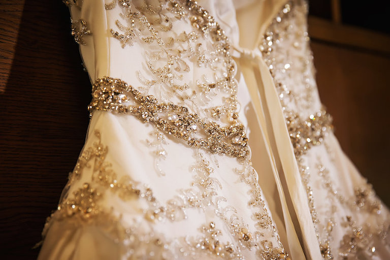 Ivory Wedding Gown with Chrystal Rhinestone Bodice and Corset Back | Limelight Photography