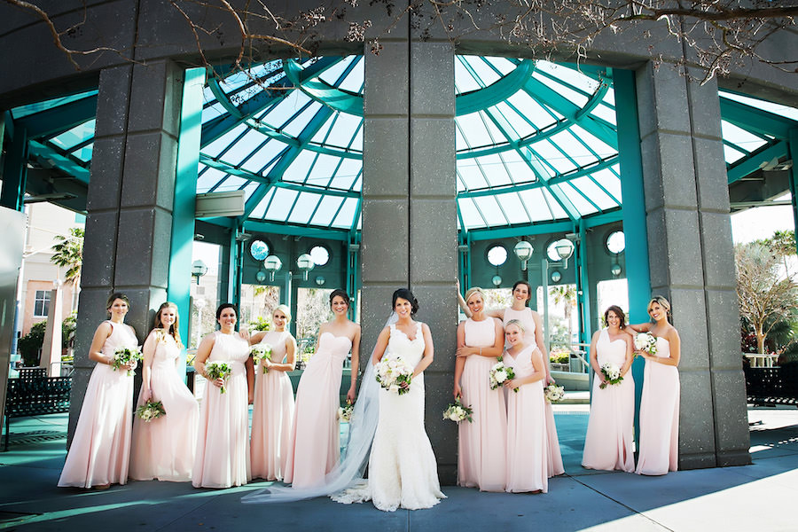 Outdoor, Tampa Bride and Bridesmaids Wedding Portrait in Blush Colored Bridesmaids Dresses | Tampa Wedding Photographer Limelight Photography