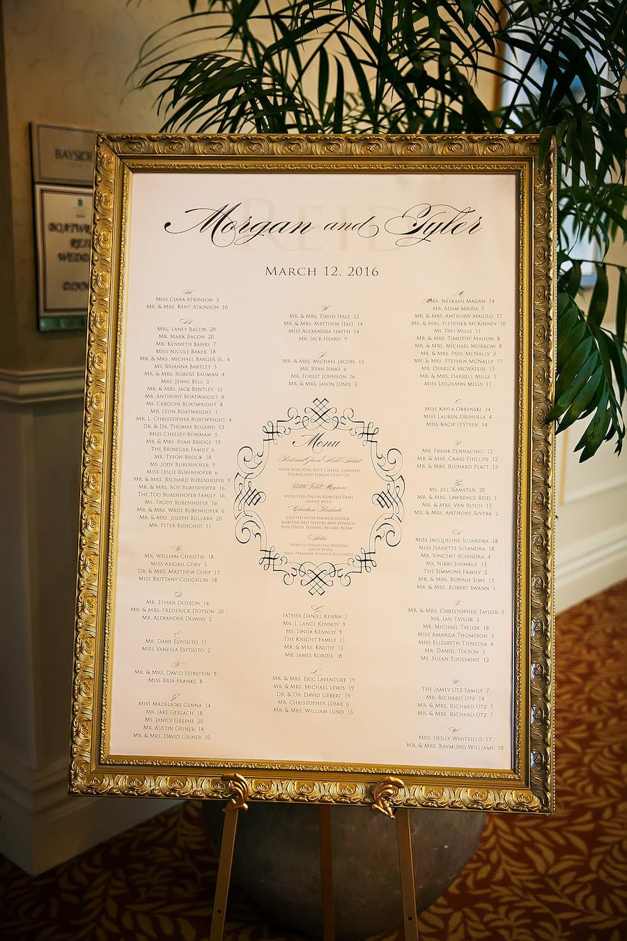 Elegant Wedding Reception Guest Seating Chart in Ornate Gold Frame