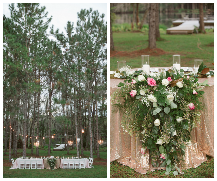 Twilight Wedding Inspired Head Table Centerpiece with Cascading Ivory and Light Pink Florals on Rose Gold Sequin Tablecloth   Rustic Glam Wedding Ideas   Tampa Bay Wedding Planner Glitz Events and Northside Florist