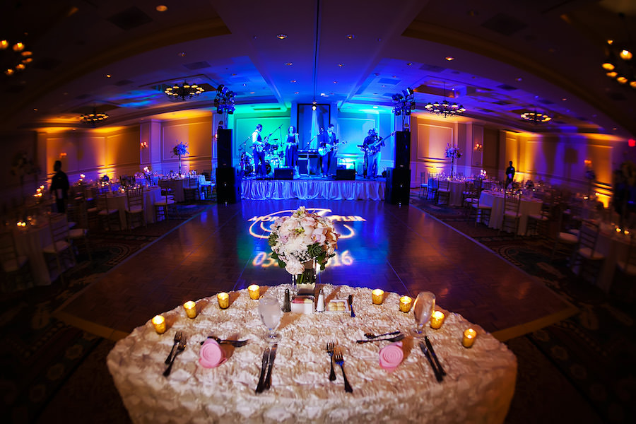 Wedding Reception Decor with Projection Floor GOBO Monogram and Blue Uplighting and Sweetheart Table | T&a Wedding Lighting Gabro Event Services | Linen ... & Wedding Reception Decor with Projection Floor GOBO Monogram and ...