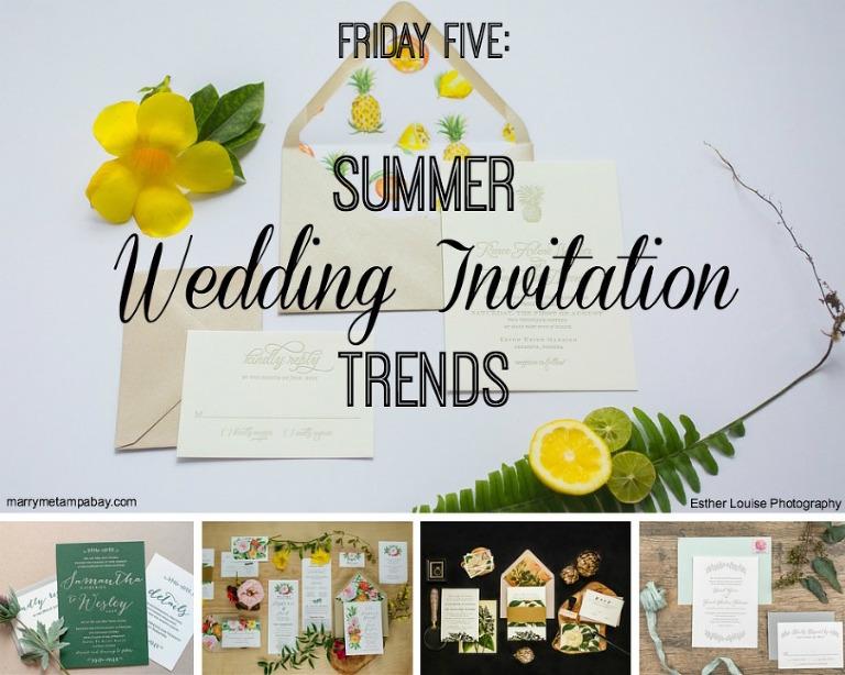 Friday Five Summer Inspired Wedding Invitation Trends
