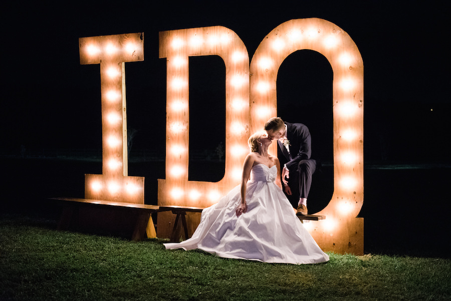Wedding Portrait with Giant I DO Marquee Lighted Letters | Tampa Bay Wedding Photographer Kera Photography | Dade City Wedding Venue Barrington Hill Farm