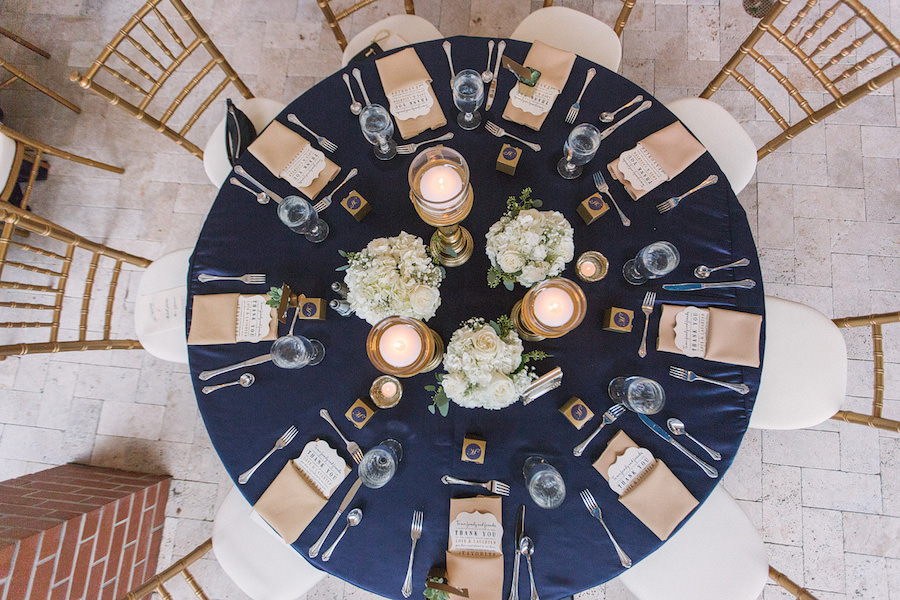 Wedding Reception Table Decor With Navy Blue Linens Gold Napkins