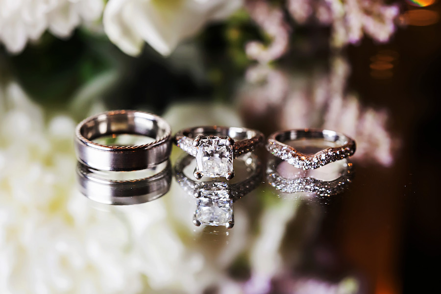 Wedding Bride and Groom Wedding Bands and Engagement Ring Portrait