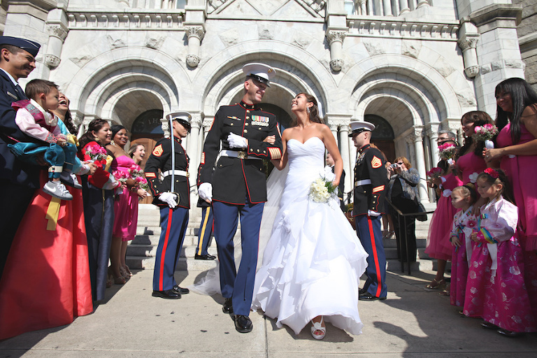Patriotic Inspired Wedding Exit Portrait| Tampa Bay Wedding Photographer Carrie Wildes Photography