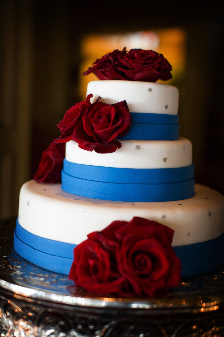 Patriotic Inspired Three Tiered Red, White and Blue Wedding Cake | Tampa Bay Wedding Photographer Limelight Photography
