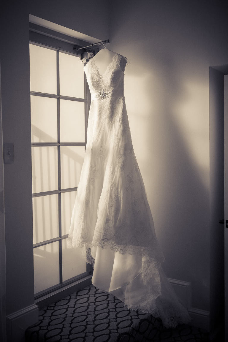 White Brides by Demetrios Sweetheart Lace Wedding Dress with Rhinestone Belt and Lace Train