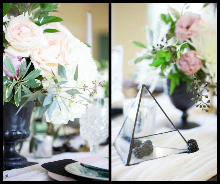 Ivory White Rose And Blush Pink Wedding Centerpiece With Black Vase Modern Geometric Shaped